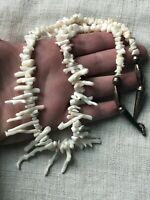 EXTREMELY RARE VINTAGE NAVAJO WHITE ANGEL SKIN CORAL STERLING SILVER NECKLACE