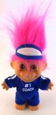 "Russ Troll #1 COACH in Blue Track Suit 5"" Pink Hair Visor Hard Plastic Doll Toy"