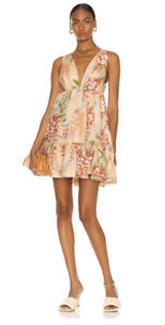Zimmermann Candescent Plunge Neck Mini Dress -BNWT- RRP$625 AUD