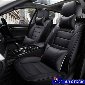 Full Set PU Leather 5-Seats Car Front+Rear Seat Cushions w/ Headrest Cover Black