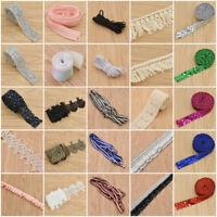 Crystal Rhinestone Applique Trim Centipede Braid Ruffle Wedding Sewing Decor DIY