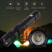 Rechargeable USB Ultra Bright T6 LED Torch with Beam Focusing Flashlight 18650