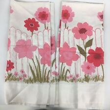 "VTG Set of 2 Window Curtains 37"" MCM Retro Pink Floral Cute Sheer 70s 60s"