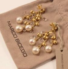 MARCO BICEGO ACAPULCO 18K YELLOW GOLD PEARL CLEAR QUARTZ 3-STRAND DROP EARRINGS