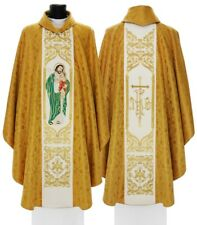 Gold Gothic Chasuble St. Joseph husband of Mary with matching stole 658-G16g us