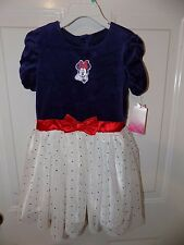 Disney Minnie Mouse Velour Dress W/Glitter Tulle Size 5T Girl's NEW