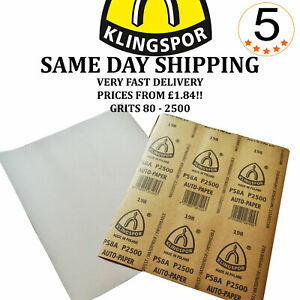 Wet and Dry Sandpaper Klingspor Grits 80 - 2500 or Mix **Prices from £1.84**