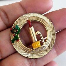 Vintage Christmas Rodox Enamel Candle Wreath Gold Tone Pin Xmas