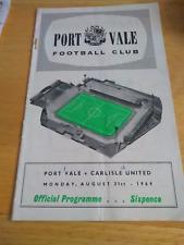 Port Vale v Carlisle United 31/8/64