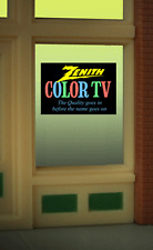 Zenith Color TV Animated Neon Window Sign HO Scale 1:87 or O Scale Model Train