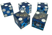 Authentic PAIR OF HARRAH'S LAS VEGAS CASINO DICE - clear BLUE, numbered
