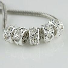 Wholesale Rhinestone Crystal Spacer Big Hole Beads Fit European Bracelet Jewelry