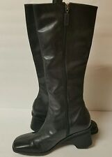 Enzo Angiolini Black Leather Wedge Heel Boots Size 6 Medium