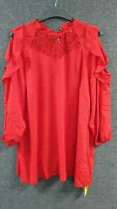 Simply Be lace Insert Cold Shoulder Blouse Red UK 26 LN015 HH 22
