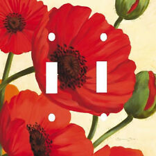 HAWAIIAN RED POPPIES FLOWERS DOUBLE LIGHT SWITCH PLATE COVER