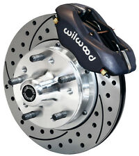 "WILWOOD DISC BRAKE KIT,FRONT,49 CHEVY FLEETMASTER,11"" DRILLED ROTORS,BLACK CALIP"