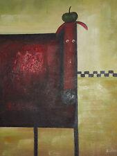 funky cane pittura a olio tela moderno contemporaneo carino bambini camera rosso