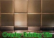 Carbon Fiber Tile Covers. Cover Old Existing Tiles! Black, White or Silver. 4""