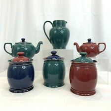 DENBY England HARLEQUIN LOT 6 Pieces Pitcher Canisters Teapots Kitchen Colorful