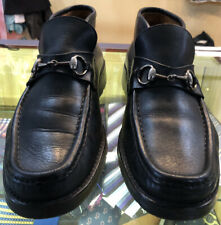 Vintage Gucci Mens Classic Silver Horsebit Leather Ankle Boots Size 9