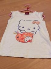 girls clothes 3-4 years White Cotton Hello Kitty Frilled Short Sleeved Top