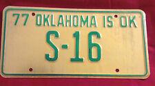 1977 OKLAHOMA STATE SENATE S-16 LICENSE PLATE