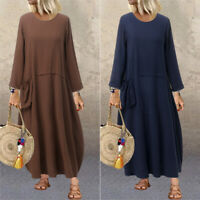 Damen Vintage Kleid Maxikleid Langarm O Neck Retro Taschen Oversize Linen Kaftan