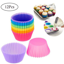 12 pcs Reusable Silicone Cupcake Muffin Mold Liner Baking Non Stick Cookie Pan