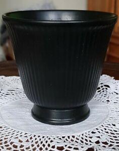 Vintage Wedgwood Classic Ribbed Black Plant Pot Holder/Vase 8.5cm