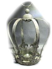 Landhaus Krone Weiß Silberfarben zum Aufstellen - Deko aus Metall mit Teelicht