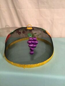 """Wire Mesh Screen Food Plate Tent Cover Embroidered Fruit  14"""""""