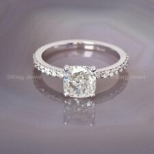 Certified 2.50 Ct Cushion Cut Diamond Solitaire Engagement Ring 14K White Gold