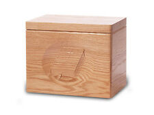 Wood Cremation Urn. Standard model with a Natural Finish and a Bible Image
