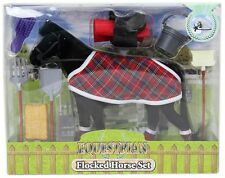 Flocked Toy Horse Model Set With Riding Accessories ~ Black