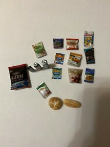 "Handmade 1/12"" scale doll grocery food items"