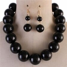Black Lucite Bead Chunky Necklace Earring Set