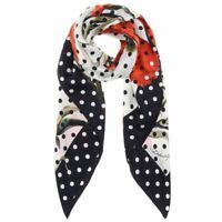 DOLCE & GABBANA Floral & Polka Dot Printed Silk Scarf  New + Tags + Gift box