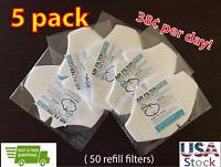 5 PACK (50 pcs) HEPA H11 Face Mask refill air filter, Made In KOREA
