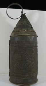 "Antique 18th/19th Century Pierced Tin Lantern - 15"" Tall"