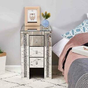 Mirrored Crystal Diamond Side Glass 3 Drawers Bedside Cabinet Tables Furniture