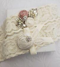BRIDAL Wedding Garter Set, Lace HANDMADE Dusty Pink Rosettes Rhinestones Pearl