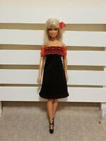 New quality black red lace doll fashionista dress For Your Barbie Dolls Au Made