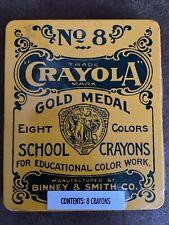 Reproduction Crayola No 8 Gold Medal School Crayons 8 Colors in Metal Tin