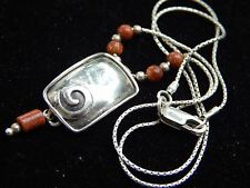 Silpada Signed Sunstone & Sterling Silver Modernist Swirl Pendant Necklace
