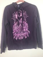 (U007) Lucky Brand Womens Purple Graphic Full Zip Hoodie Jacket Size Large