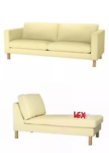 IKEA Karlstad 3-Seat Sofa  and Chaise Covers Sivik Light Yellow Brand New