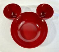 ZAK Designs Disney MICKEY MOUSE Head Ears Red Bowl Chip Dip Serving Dish EUC