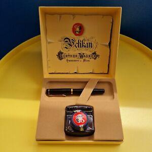 Pelikan Kolbenfüller  Füller mit vergoldet Goldfeder Tintenglas Box