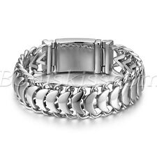 Mens Silver Tone High Polished Stainless Steel Buckle Chain Bracelet Bangle Link