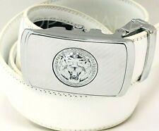 Fashion Men's Automatic Silver Buckle Ratchet Slide Lion Head New Designer Belt